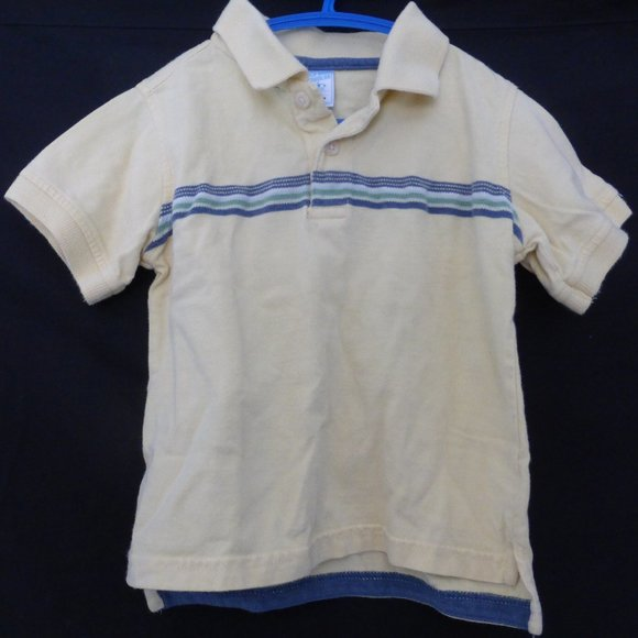 OLD NAVY, 3T, yellow polo top with stripes EUC